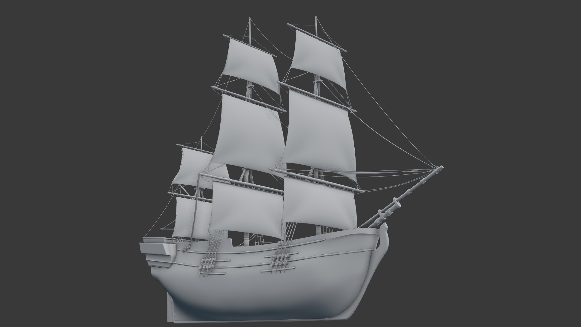 opengl render of the sail ship